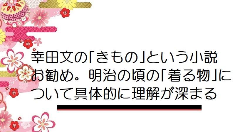 幸田文の「きもの」という小説お勧め。明治の頃の「着る物」について具体的に理解が深まる