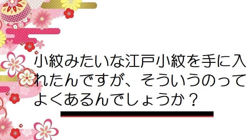 小紋みたいな江戸小紋を手に入れたんですが、そういうのってよくあるんでしょうか?